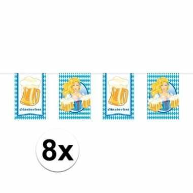8x oktoberfest/bierfeest vlaggenlijnen/slingers rechthoekig 10 m- feestje!