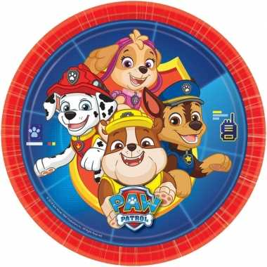 8x paw patrol thema feest borden 23 cm- feestje!