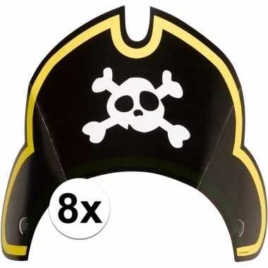 8x piraten themafeest feesthoedjes kapitein- feestje!
