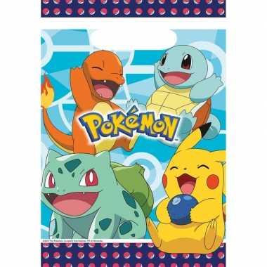 8x pokemon themafeest uitdeelzakjes 16 x 23 cm- feestje!