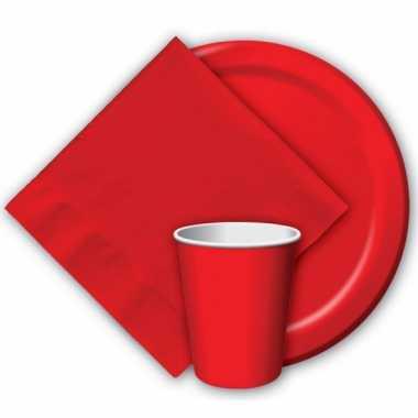 8x rode papieren feest bekertjes 256 ml- feestje!