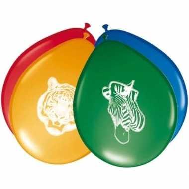 8x safari/jungle themafeest ballonnen 27 cm- feestje!