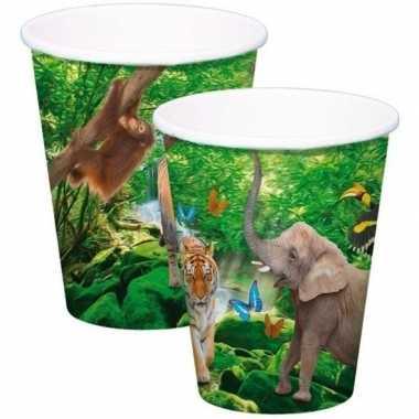 8x safari/jungle themafeest bekertjes 250ml- feestje!