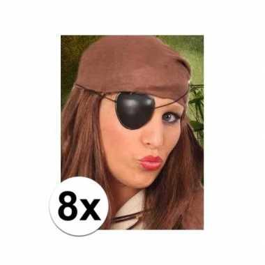 8x stuks piraten feest ooglapjes- feestje!
