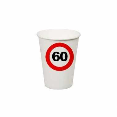 8x stuks verjaardag feest bekertjes 60 jaar thema stopbord- feestje!