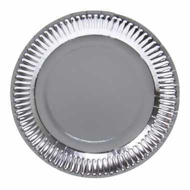 8x zilveren feest borden van karton 23 cm- feestje!