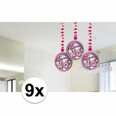9x sweet 16 leeftijd feest versiering rotorspiralen- feestje!