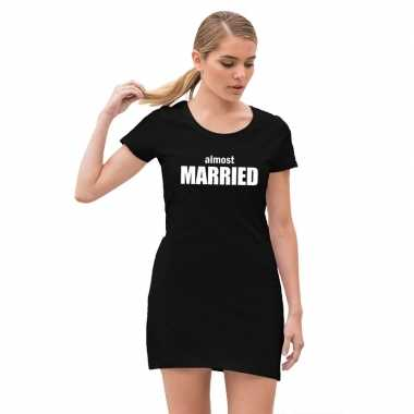 Almost married vrijgezellenfeest jurkje met zwart voor dames- feestje