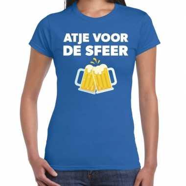 Atje voor de sfeer feest t-shirt blauw voor damesfeestje!
