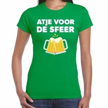 Atje voor de sfeer feest t-shirt groen voor damesfeestje!