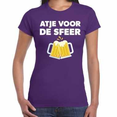 Atje voor de sfeer feest t-shirt paars voor damesfeestje!