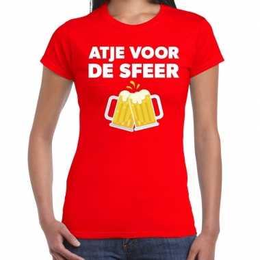 Atje voor de sfeer feest t-shirt rood voor damesfeestje!