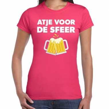 Atje voor de sfeer feest t-shirt roze voor damesfeestje!