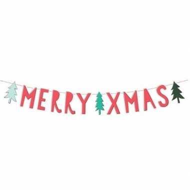 Banner feestslinger merry christmas 12 x 120 cm- feestje!