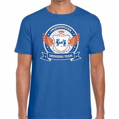 Blauw vrijgezellenfeest drinking team t-shirt blauw oranje herenfeest