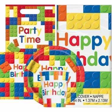 Bouwstenen thema kinderfeestje versiering pakket 9-16 personenfeestje!