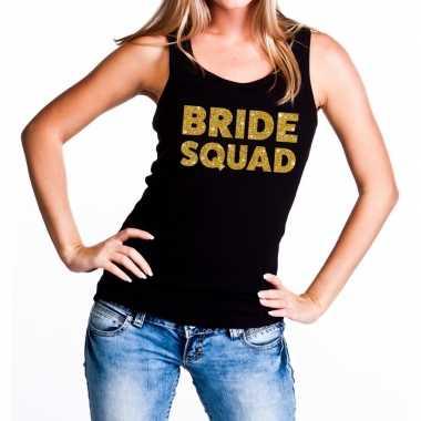 Bride squad gouden vrijgezellenfeest tanktop / mouwloos shirt zw- fee