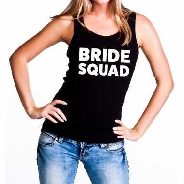 Bride squad vrijgezellenfeest tanktop / mouwloos shirt zwart dam- fee