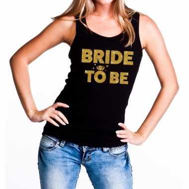 Bride to be gouden vrijgezellenfeest tanktop / mouwloos shirt zw- fee