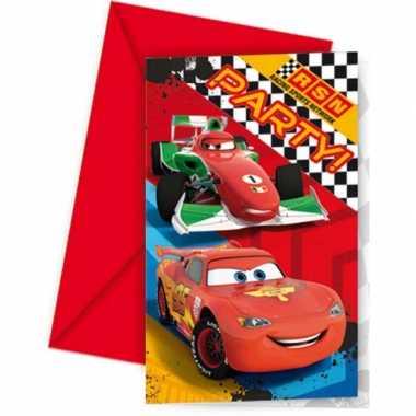 Cars themafeest uitnodigingen 12 stuks- feestje!