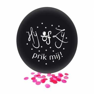Confetti ballon gender reveal meisje party/feest zwart 60 cm- feestje