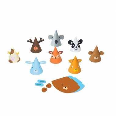 Dieren feesthoedjes knutselen 8 stuks- feestje!