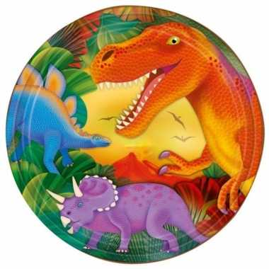 Dinosaurus feest bordjes 8x stuks 23 cm- feestje!