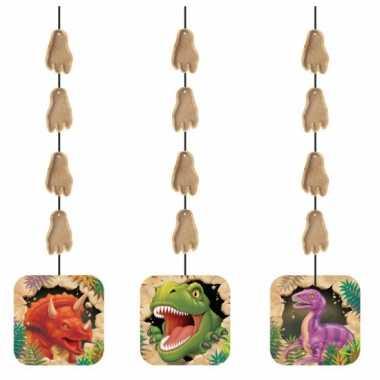 Dinosaurus feest thema hangdecoraties 3x stuks- feestje!