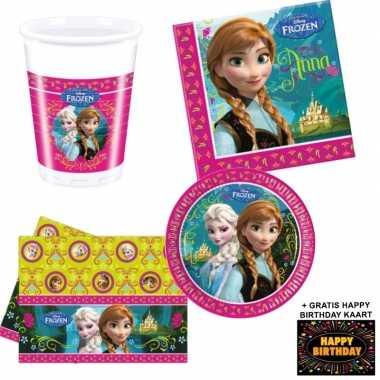 Disney frozen kinderfeestje versiering tafel pakket 8 pers + kaa- fee