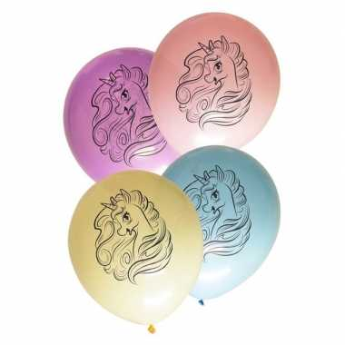 Eenhoorn themafeest ballonnen pastel 8 stuks- feestje!