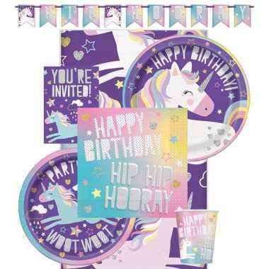 Eenhoorn themafeest kinderfeestje decoratie pakket 8 personen- feestj