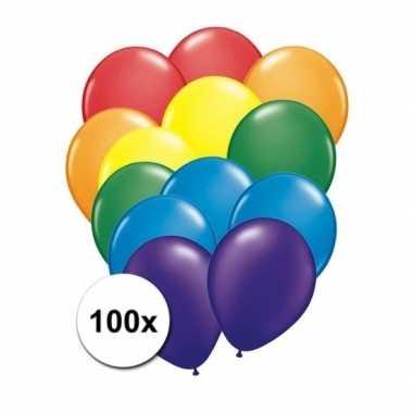 Feest ballonnen regenboog 100 x- feestje!