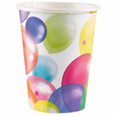 Feest bekertjes met ballonnenopdruk karton 250ml 8st- feestje!