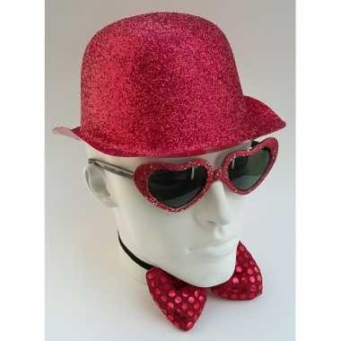 Feest bolhoed met rode glitters- feestje!