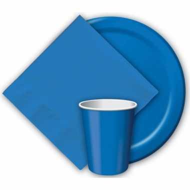 Feest borden blauw 23 cm- feestje!