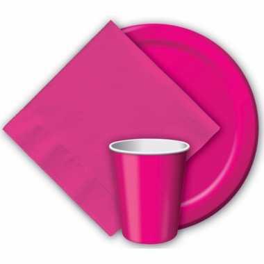 Feest borden fuchsia roze 23 cm- feestje!