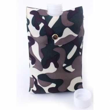 Feest heupflesje plastic in camouflage hoes tas 350 ml feestje