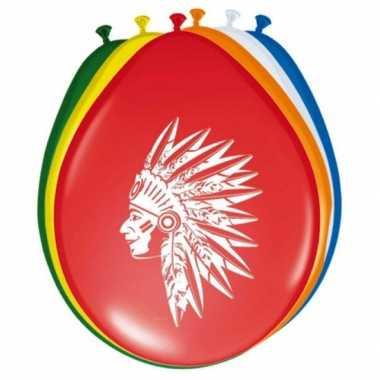 Feest indianen ballonnen 8 stuks- feestje!