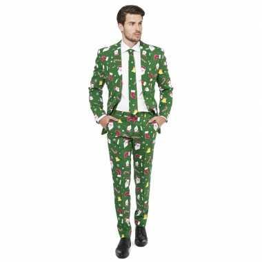 Feest kostuum kerstmis print groen feestje