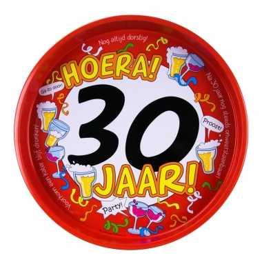 Feest metalen dienblad 30 jaar 30 cm- feestje!