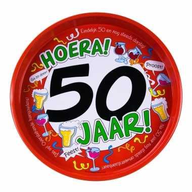 Feest metalen dienblad 50 jaar 30 cm- feestje!
