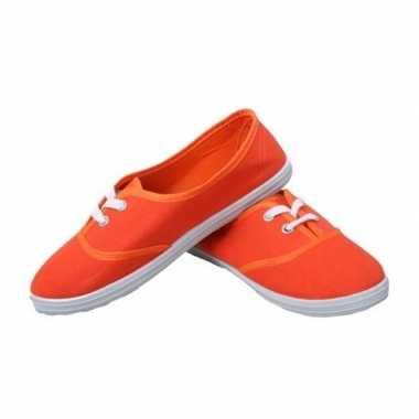 Feest oranje sneakers/schoenen voor dames accessoires- feestje!