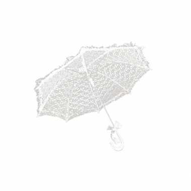 Feest paraplu wit kant 70 cm feestje