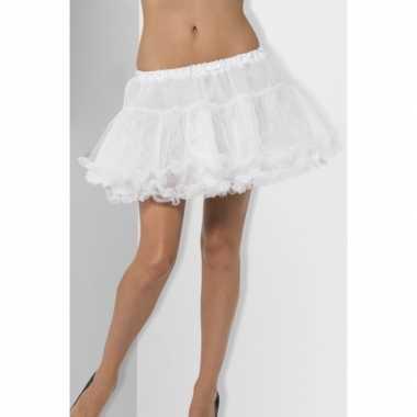 Feest petticoat wit met satijnen band voor dames feestje