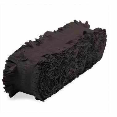 Feest/verjaardag versiering slingers zwart 24 meter crepe papier- feestje!