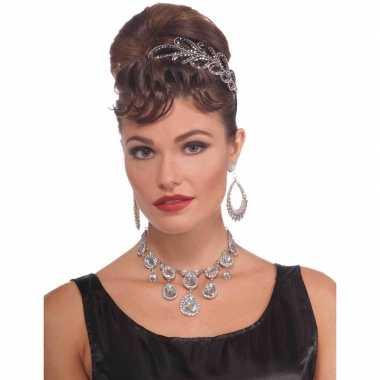 Feest verkleed ketting zilver met diamanten voor dames feestje