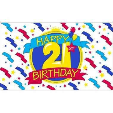 Feest vlag happy birthday 21 jaar- feestje!
