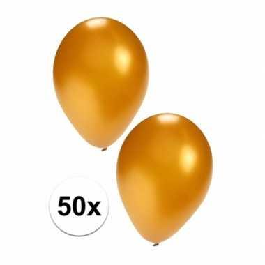 Feestartikelen 50x gouden ballonnen- feestje!