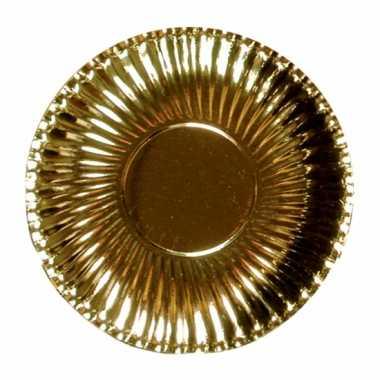 Feestartikelen borden metallic goud 10 stuks feestje