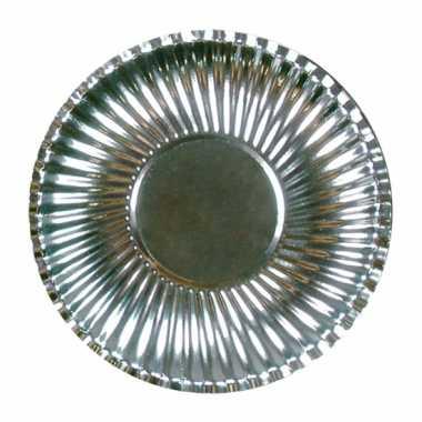 Feestartikelen borden metallic zilver 10 stuks- feestje!
